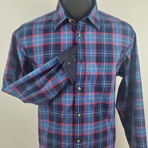 Hugo Boss Flip Cuff Blue Pink Plaid Shirt Size XL
